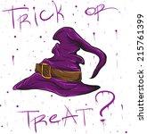 halloween question with hand... | Shutterstock .eps vector #215761399