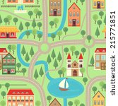 illustration city map. cartoon. ... | Shutterstock .eps vector #215771851