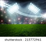 soccer ball on green stadium... | Shutterstock . vector #215772961