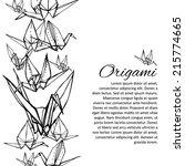 black and white origami crane... | Shutterstock .eps vector #215774665