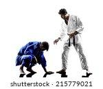 two judokas fighters fighting... | Shutterstock . vector #215779021