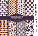 set of halloween backgrounds.... | Shutterstock .eps vector #215790775