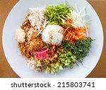 nasi kerabu or kao yum  southen ... | Shutterstock . vector #215803741