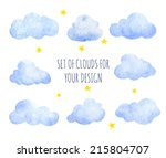 set of watercolor clouds for... | Shutterstock .eps vector #215804707