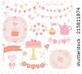 set of birthday party elements. | Shutterstock .eps vector #215811874