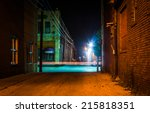 Dark Alley And Light Trails In...