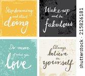 4 hand written inspirational... | Shutterstock .eps vector #215826181