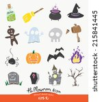 cute halloween icon set... | Shutterstock .eps vector #215841445