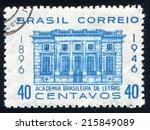 brazil   circa 1946  stamp... | Shutterstock . vector #215849089