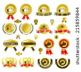 set of gold badges with ribbon... | Shutterstock .eps vector #215859844