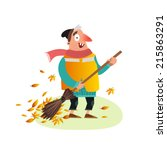 Happy Yardman Sweeping Autumn...
