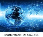 best internet concept of global ... | Shutterstock . vector #215863411