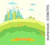urban landscape in flat design. ... | Shutterstock .eps vector #215867551