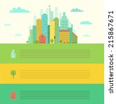 urban landscape in flat design... | Shutterstock .eps vector #215867671