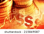euro coins and us dollar... | Shutterstock . vector #215869087