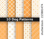 Stock vector set of dog seamless vector pattern of paw footprint in repeating rhombus orange and white colors 215881474