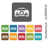 Racing car front view icons set. Rectangle colourful 12 buttons. Vector illustration eps10