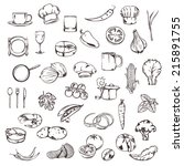food  sketches of icons vector... | Shutterstock .eps vector #215891755