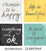 4 hand written inspirational... | Shutterstock .eps vector #215893969