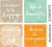4 hand written inspirational... | Shutterstock .eps vector #215893975