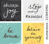 4 hand written inspirational... | Shutterstock .eps vector #215893981