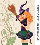 beautiful witch and spider ... | Shutterstock .eps vector #215902381