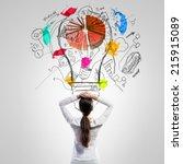 rear view of businesswoman... | Shutterstock . vector #215915089