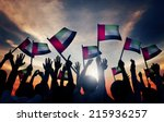 group of people waving flag of...   Shutterstock . vector #215936257