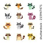 cute raccoon vector | Shutterstock .eps vector #215947471