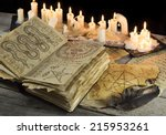 Open Grimoire Book With Candle...