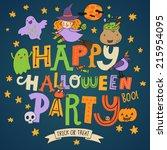 happy halloween party   stylish ... | Shutterstock .eps vector #215954095