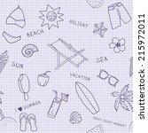beach cartoon seamless pattern. ... | Shutterstock .eps vector #215972011