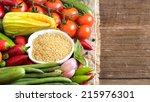 raw organic bulgur in bowl and... | Shutterstock . vector #215976301