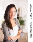 cheerful young businesswoman... | Shutterstock . vector #215979409