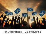 group of people waving scottish ... | Shutterstock . vector #215982961