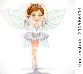 beautiful little fairy girl in... | Shutterstock .eps vector #215986414