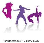detailed silhouettes of girls... | Shutterstock .eps vector #215991637