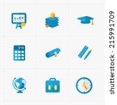 modern colorful flat social... | Shutterstock .eps vector #215991709