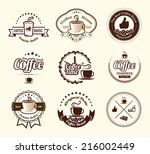 set of vintage coffee badges... | Shutterstock .eps vector #216002449