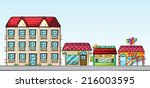 illustration of a street full... | Shutterstock .eps vector #216003595