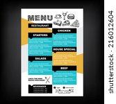 restaurant cafe menu  template... | Shutterstock .eps vector #216012604