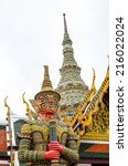 demon guardian at wat prakaew... | Shutterstock . vector #216022024