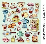 coffee icon set. vector...   Shutterstock .eps vector #216025714