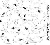back vector papers planes... | Shutterstock .eps vector #216039409