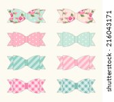 set of 8 different retro fabric ... | Shutterstock .eps vector #216043171