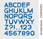 paper blue strict alphabet... | Shutterstock .eps vector #216043291