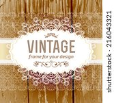 vintage frame vector with real... | Shutterstock .eps vector #216043321