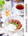 health breakfast. granola with...   Shutterstock . vector #216050545