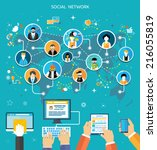 social media network connection ... | Shutterstock .eps vector #216055819