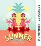 summer party template vector... | Shutterstock .eps vector #216065191